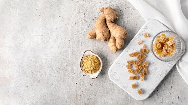 Vista superior del concepto de comida de jengibre