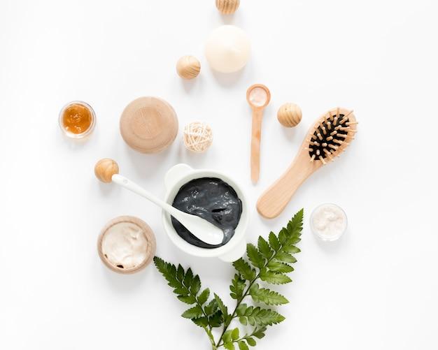 Vista superior del concepto de cosmética natural