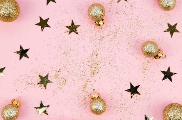 Vista superior concepto de decoración de navidad