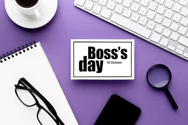 Vista superior del concepto del día del jefe