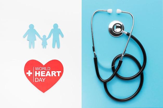 Vista superior del concepto del día mundial del corazón