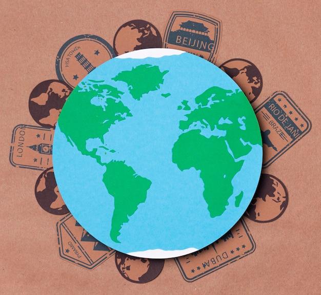 Vista superior del concepto del día mundial del turismo