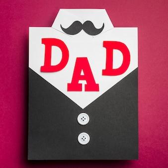 Vista superior del concepto del día del padre con bigote