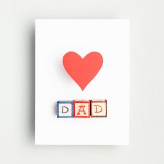 Vista superior del concepto del día del padre con corazón