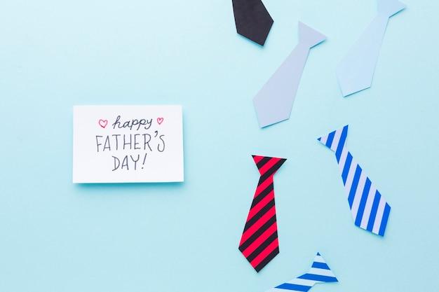 Vista superior del concepto del día del padre con lazos