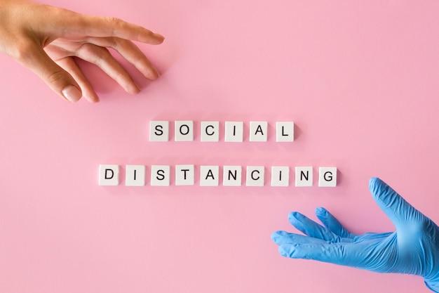 Vista superior del concepto de distanciamiento social