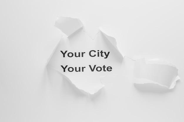 Vista superior del concepto de elecciones con espacio de copia