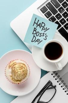 Vista superior del concepto de feliz día del jefe