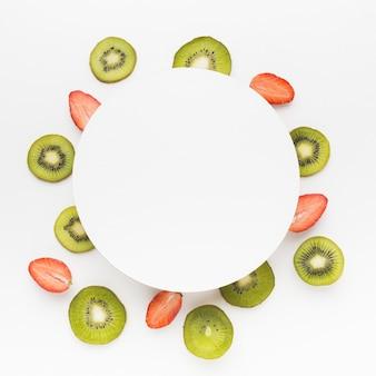 Vista superior del concepto de frutas con espacio de copia