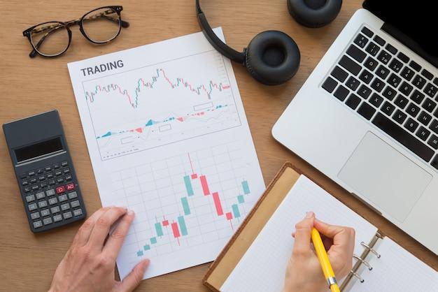Vista superior del concepto de gráfico de comercio