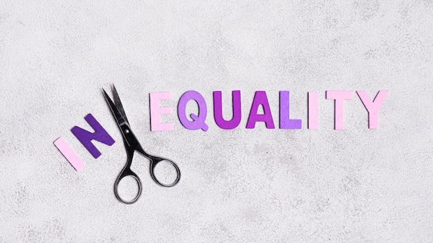 Vista superior del concepto de igualdad y desigualdad