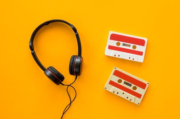 Vista superior del concepto de música de auriculares