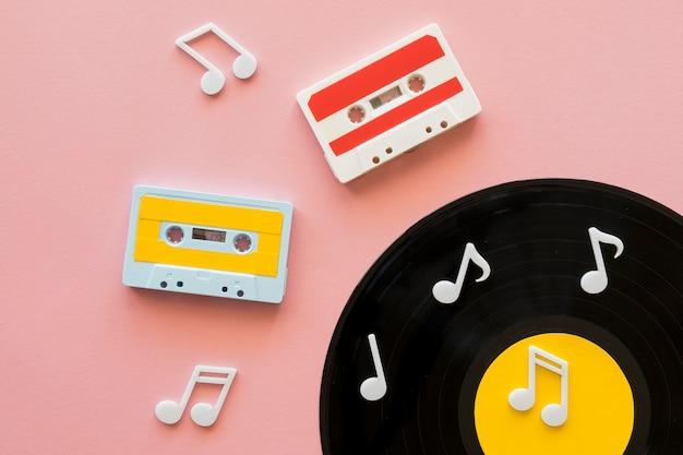 Vista superior del concepto de música hermosa