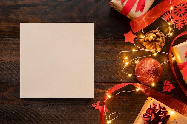 Vista superior del concepto de navidad con espacio de copia