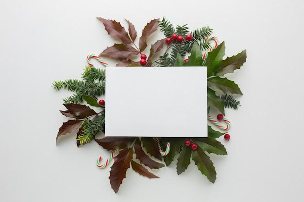 Vista superior del concepto de navidad con maqueta