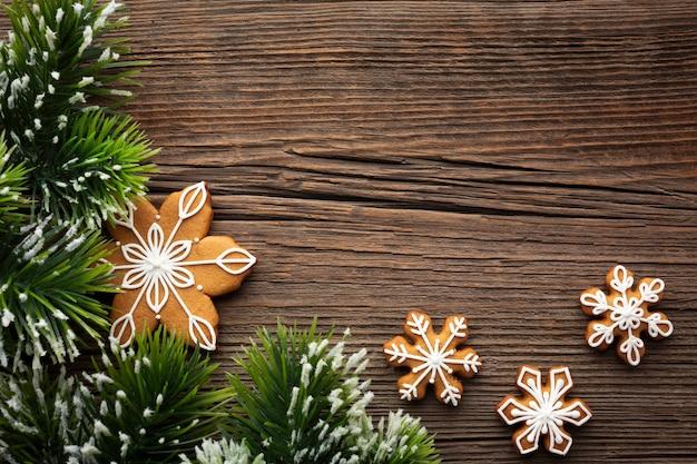 Vista superior del concepto de navidad en una mesa