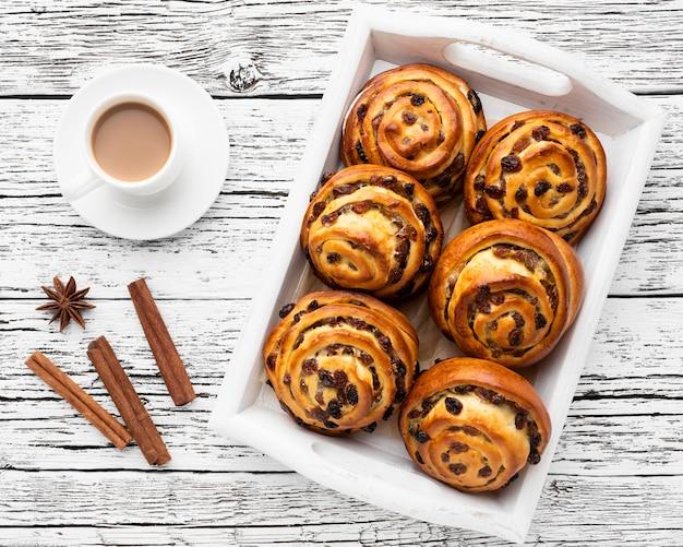 Vista superior del concepto de pastelería deliciosa