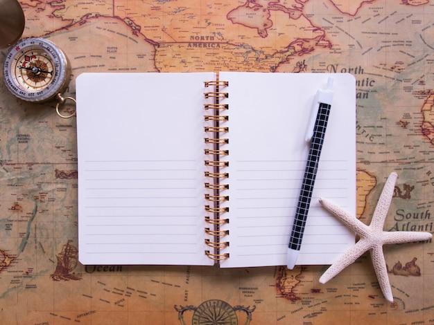 Vista superior del concepto de planificación de viajes.