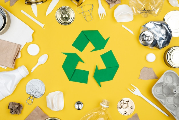 Vista superior del concepto de reciclaje