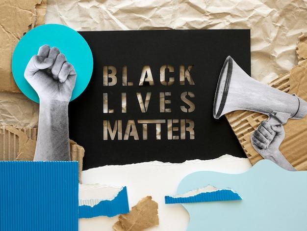 Vista superior del concepto de vida negra importa