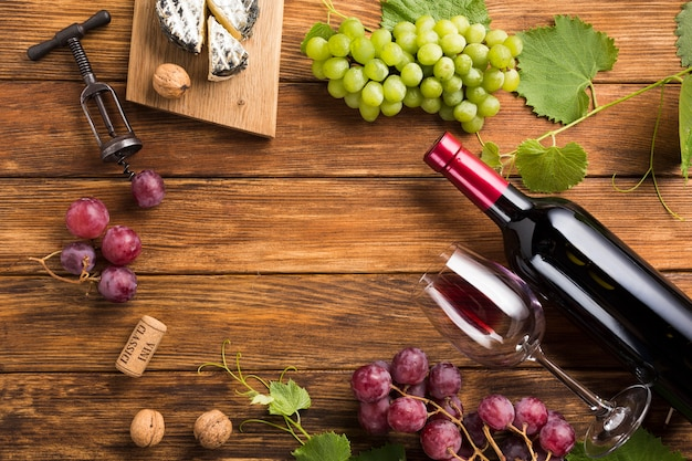 Vista superior del concepto de vino tinto.