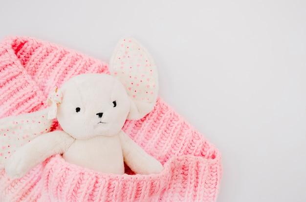 Vista superior del conejito de juguete con fondo blanco.