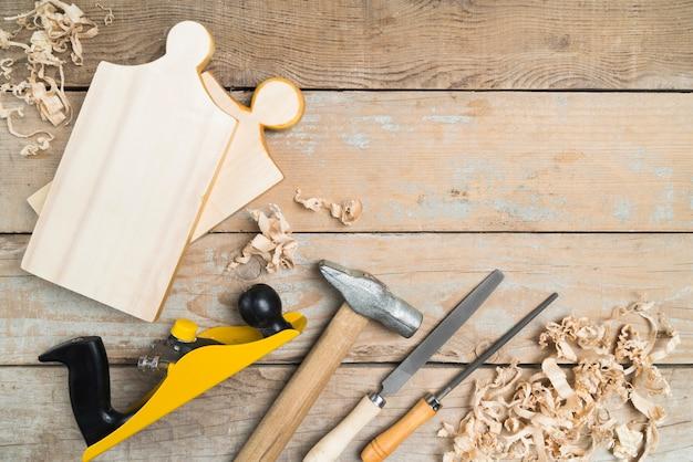 Vista superior conjunto de herramientas de carpintero