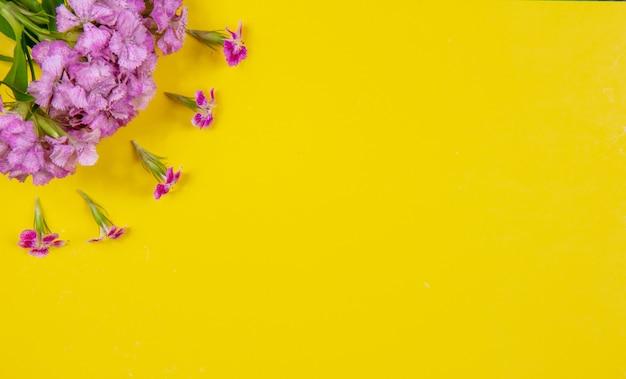 Vista superior copia espacio flores rosas sobre un fondo amarillo