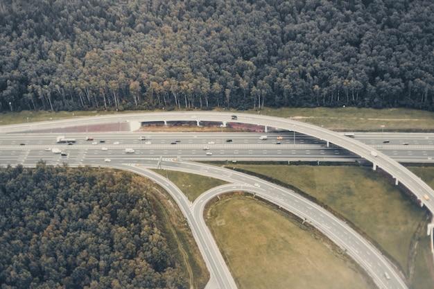 Vista superior del cruce de carreteras