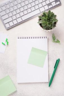 Vista superior del cuaderno en el escritorio con planta suculenta y teclado