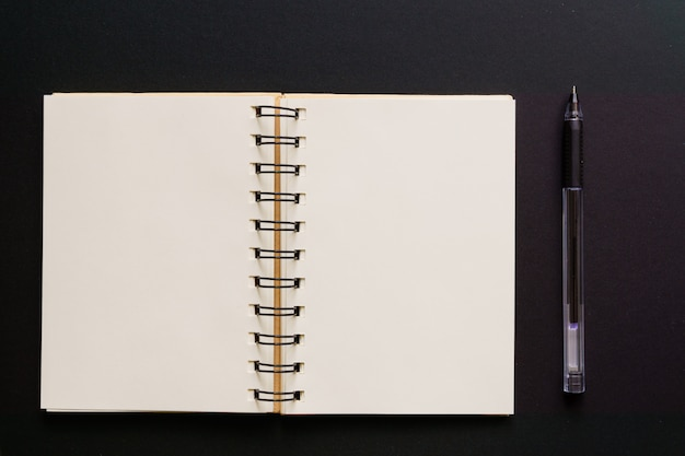 Vista superior del cuaderno kraft vacío y bolígrafo en negro