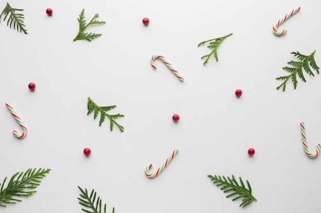 Vista superior decoración de concepto de navidad