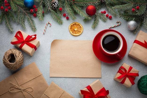 Vista superior decoración festiva de navidad