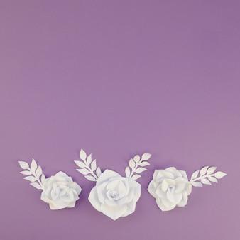 Vista superior decoración floral con espacio de copia