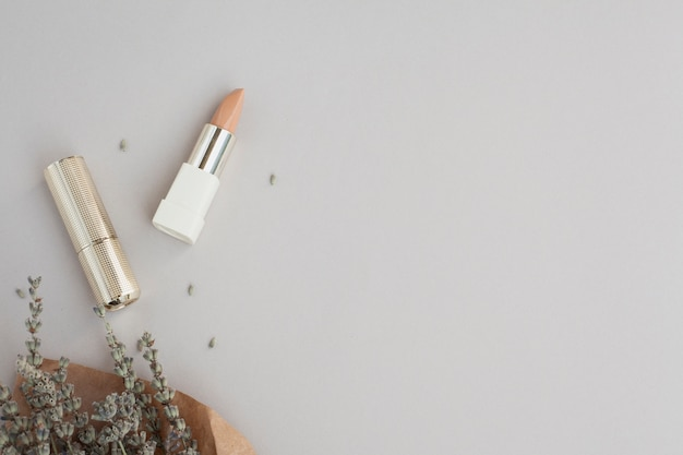 Vista superior decoración con lápiz labial marrón y planta