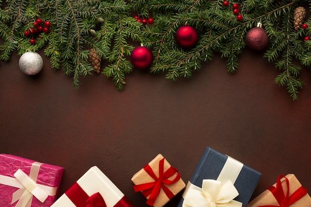 Vista superior decoración navideña con espacio de copia