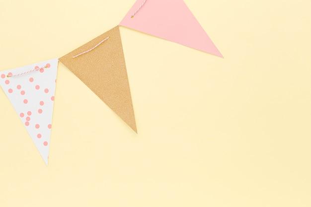 Vista superior decoraciones de cumpleaños