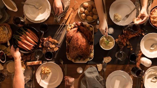 Vista superior de la deliciosa comida de acción de gracias