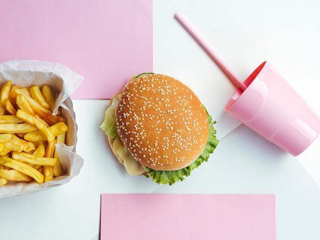 Vista superior deliciosa comida rápida americana