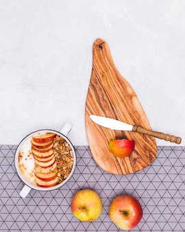 Vista superior de deliciosa manzana