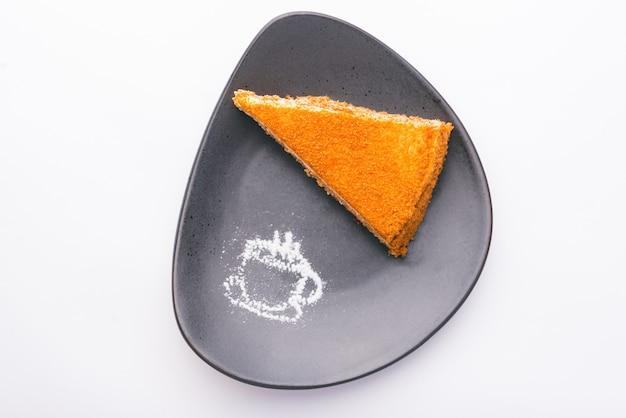 Vista superior de la deliciosa tarta dulce crujiente