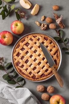 Vista superior deliciosa tarta de manzana