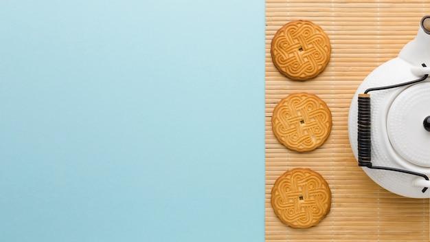 Vista superior deliciosas galletas caseras con espacio de copia