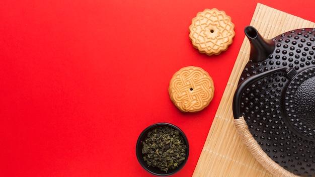 Vista superior deliciosas galletas con espacio de copia