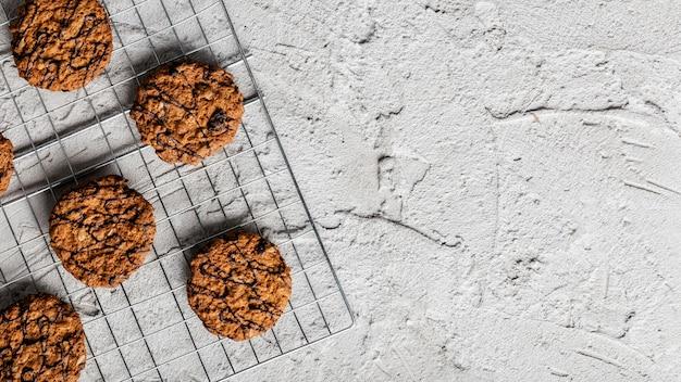 Vista superior de deliciosas galletas