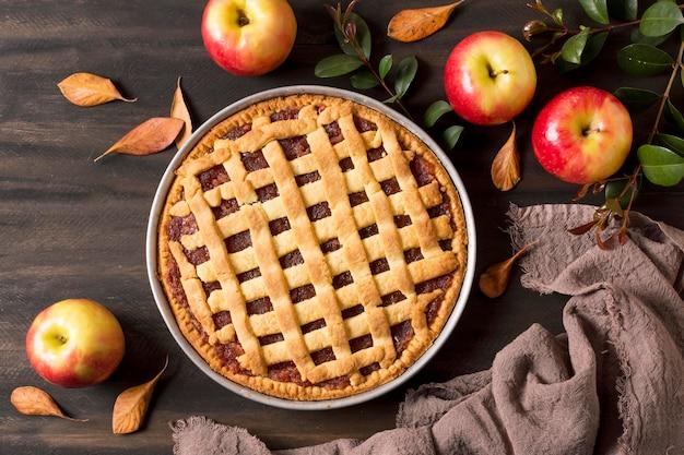 Vista superior delicioso pastel de manzana