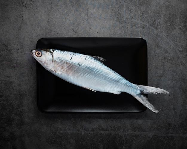 Vista superior delicioso pescado con fondo de estuco