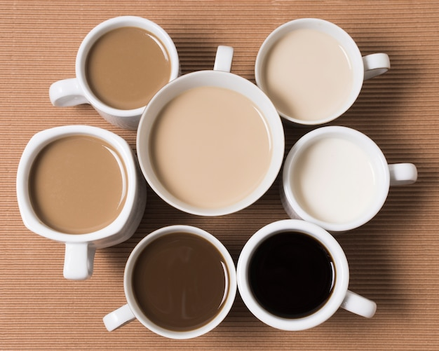 Vista superior de los deliciosos tipos de café.