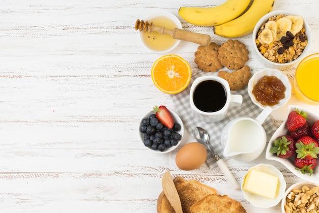 Vista superior desayuno delicioso