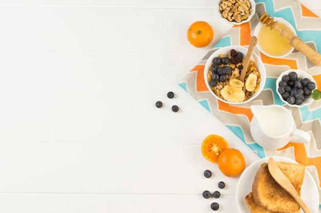 Vista superior desayuno saludable